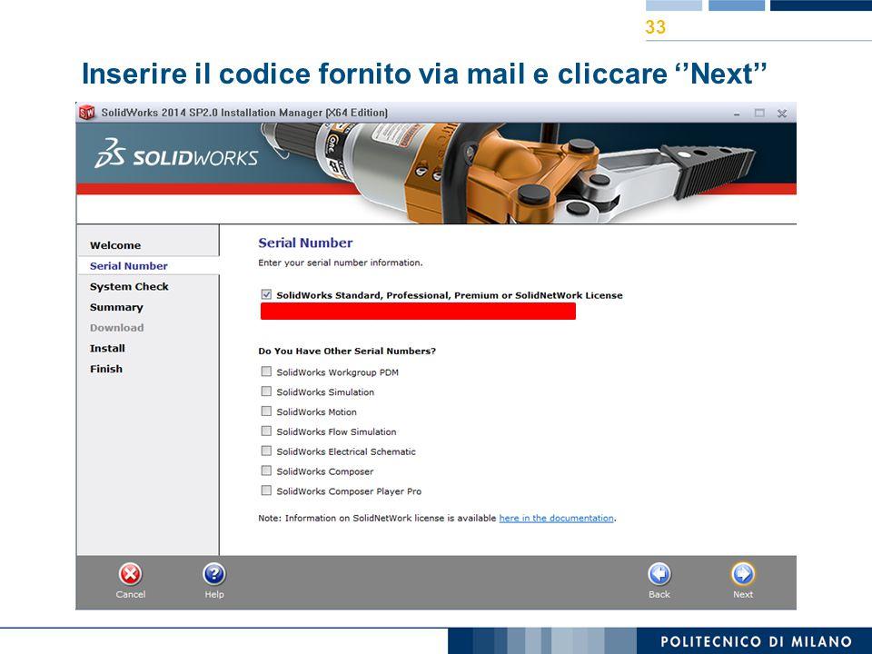 Inserire il codice fornito via mail e cliccare ''Next''