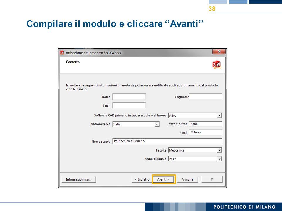 Compilare il modulo e cliccare ''Avanti''