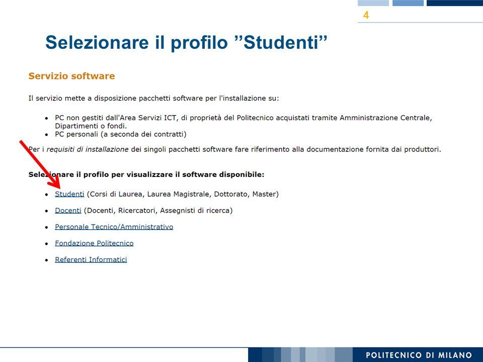 Selezionare il profilo ''Studenti''