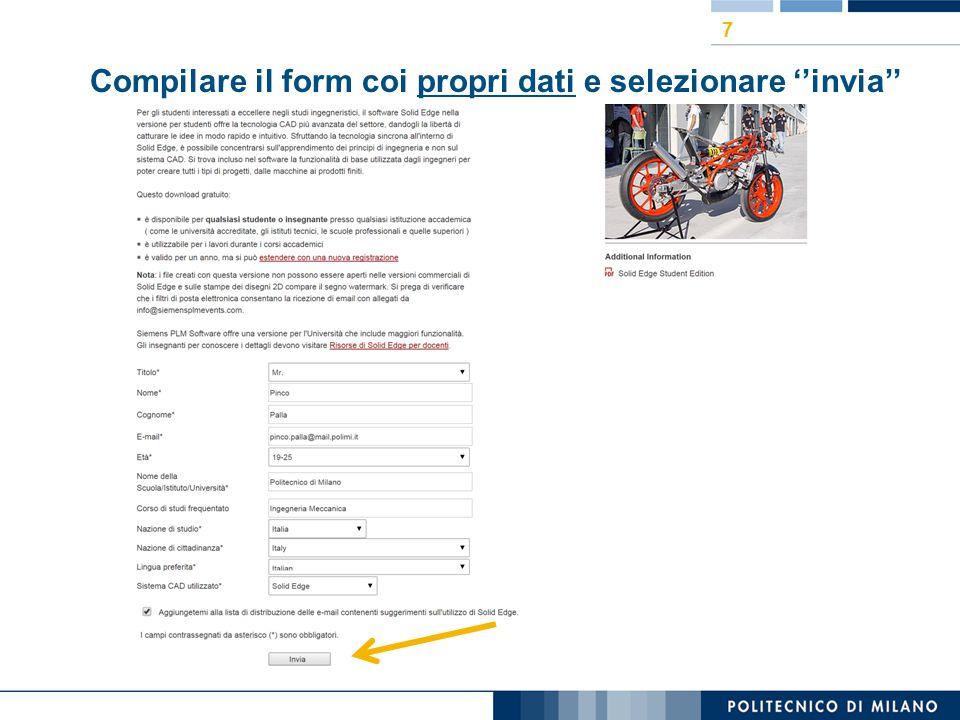 Compilare il form coi propri dati e selezionare ''invia''