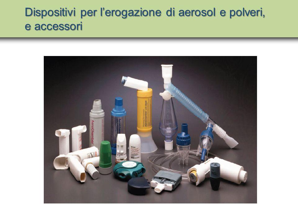Dispositivi per l'erogazione di aerosol e polveri, e accessori