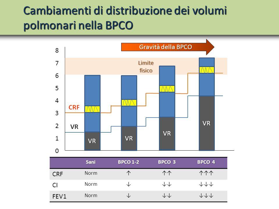 Cambiamenti di distribuzione dei volumi polmonari nella BPCO