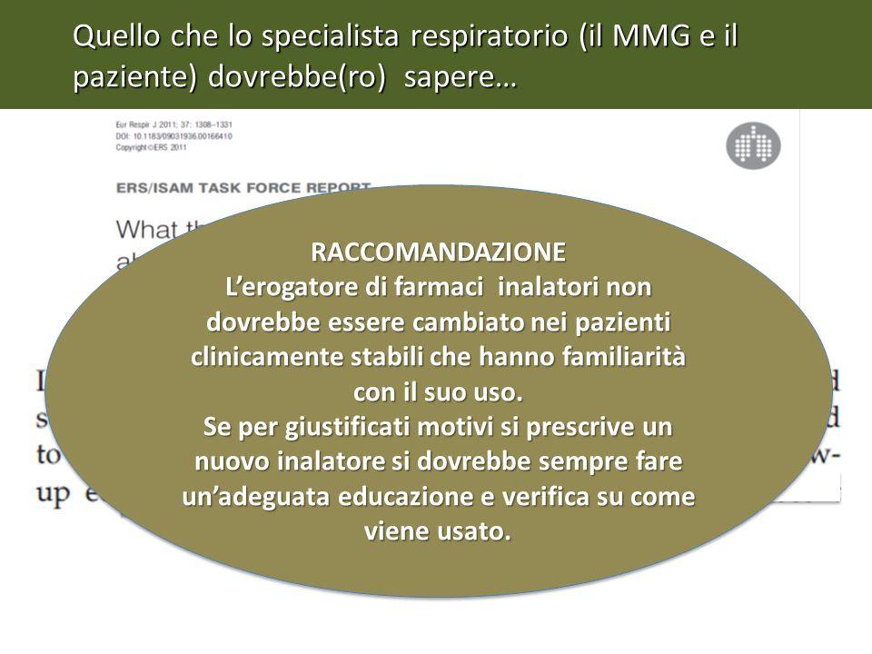 Quello che lo specialista respiratorio (il MMG e il paziente) dovrebbe(ro) sapere…