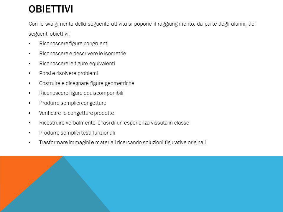Obiettivi Con lo svolgimento della seguente attività si popone il raggiungimento, da parte degli alunni, dei seguenti obiettivi: