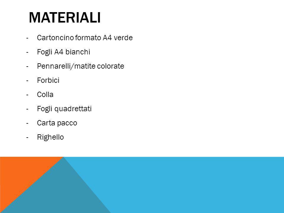Materiali Cartoncino formato A4 verde Fogli A4 bianchi