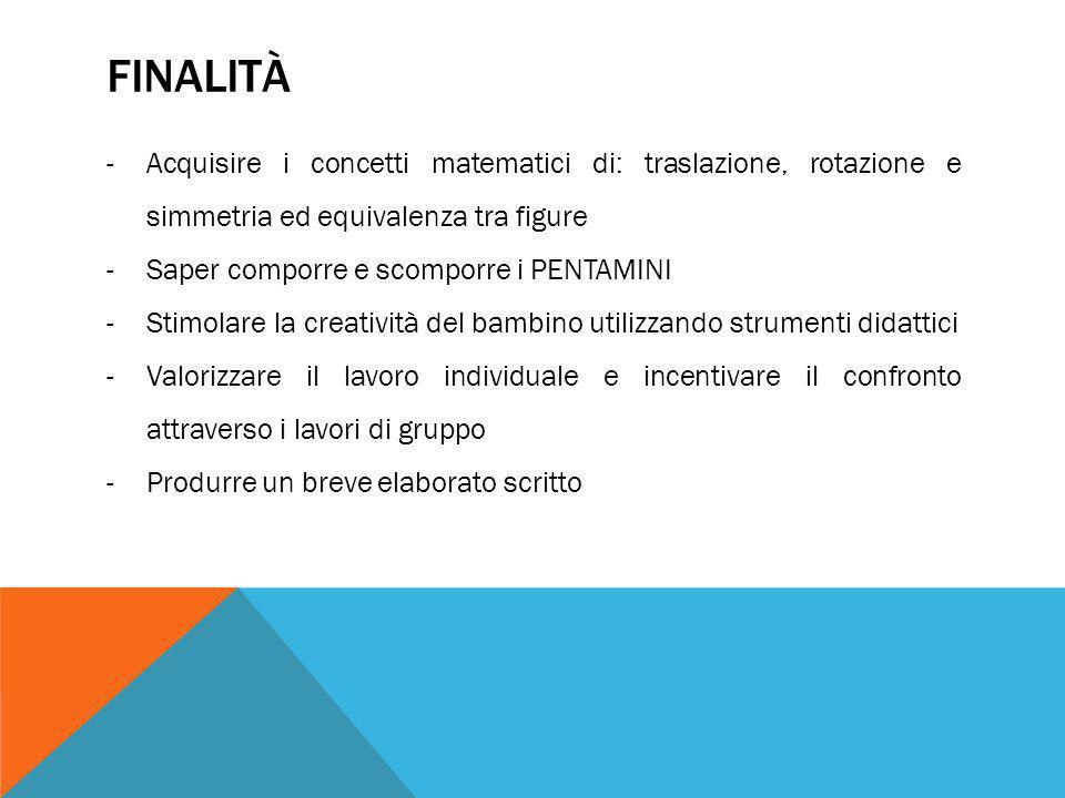 Finalità Acquisire i concetti matematici di: traslazione, rotazione e simmetria ed equivalenza tra figure.