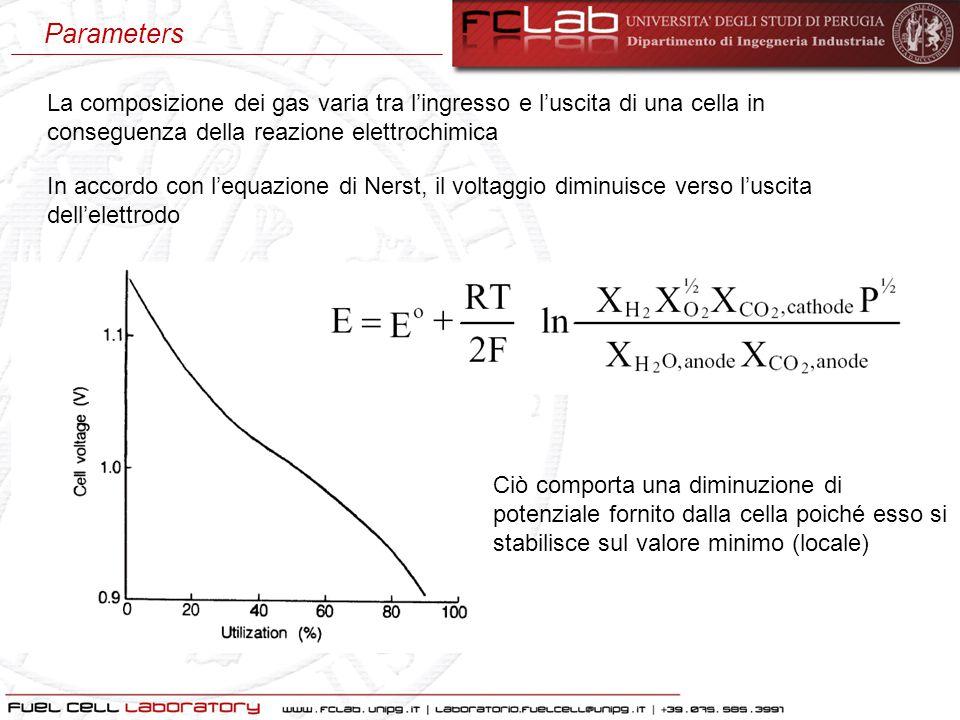 Parameters La composizione dei gas varia tra l'ingresso e l'uscita di una cella in conseguenza della reazione elettrochimica.