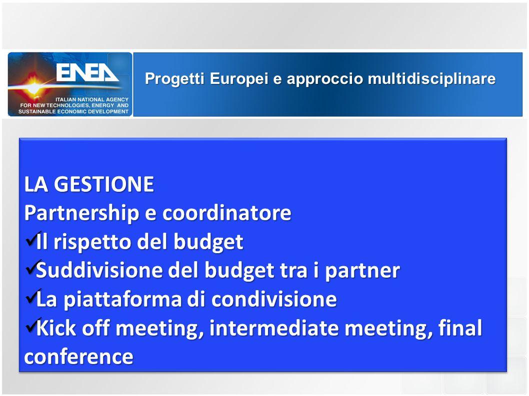 Partnership e coordinatore Il rispetto del budget