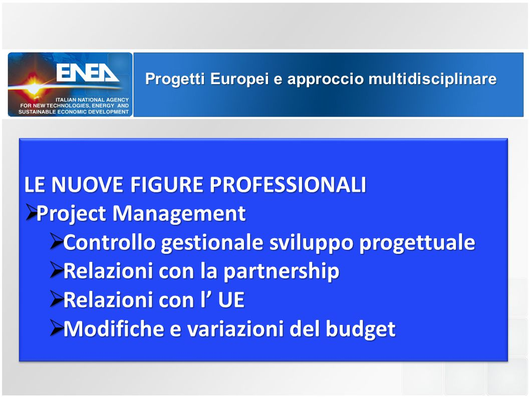 LE NUOVE FIGURE PROFESSIONALI Project Management