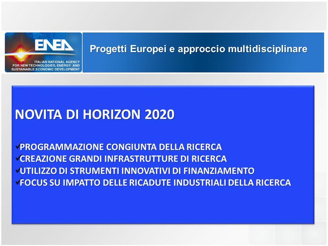 NOVITA DI HORIZON 2020 Progetti Europei e approccio multidisciplinare