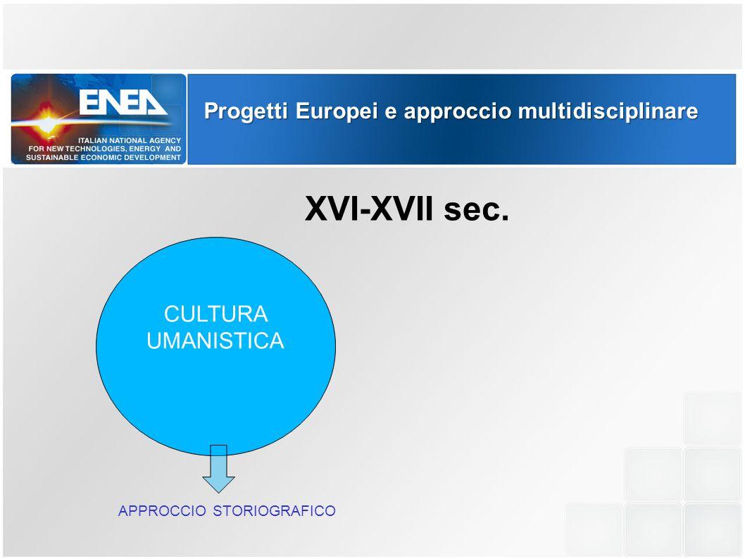 XVI-XVII sec. Progetti Europei e approccio multidisciplinare