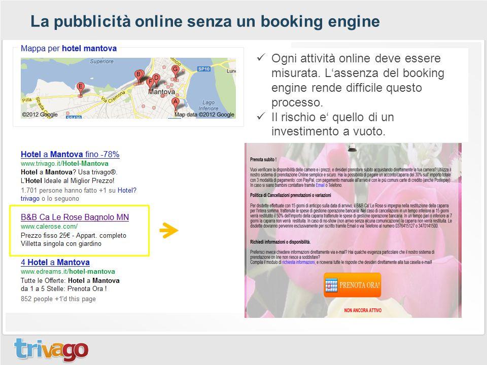 La pubblicità online senza un booking engine