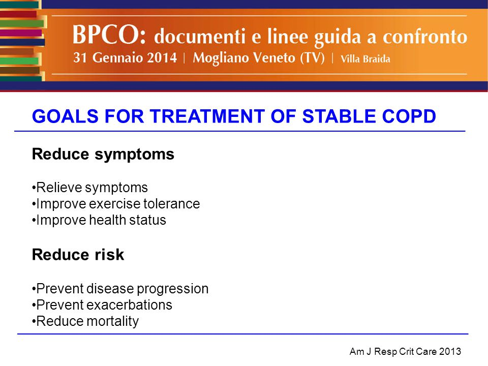 GOALS FOR TREATMENT OF STABLE COPD