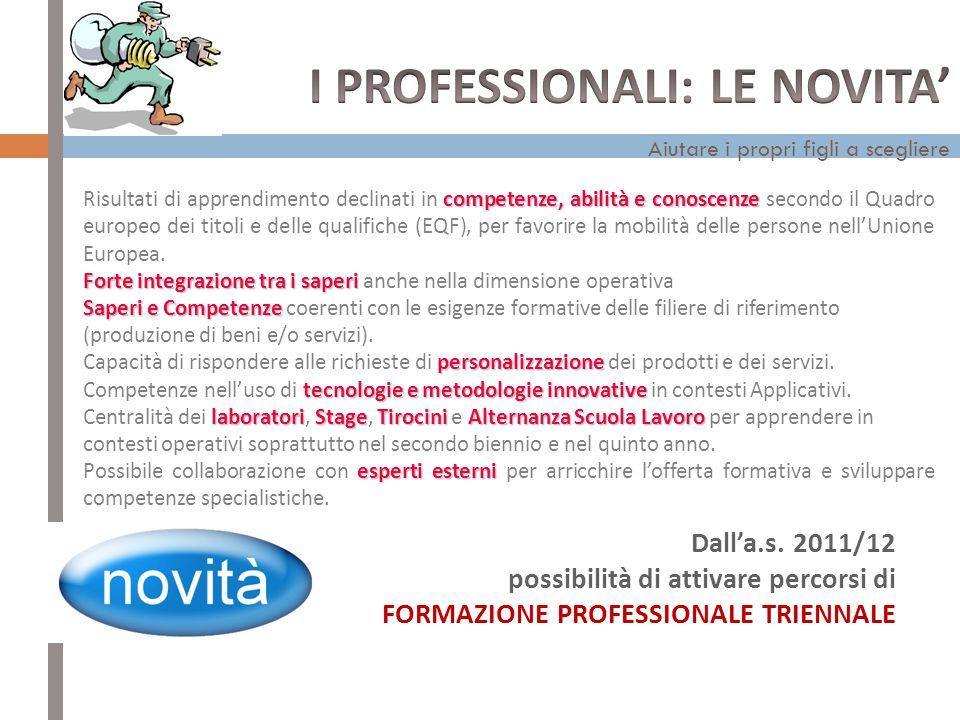 I PROFESSIONALI: LE NOVITA'