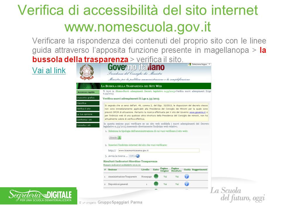 Verifica di accessibilità del sito internet www.nomescuola.gov.it