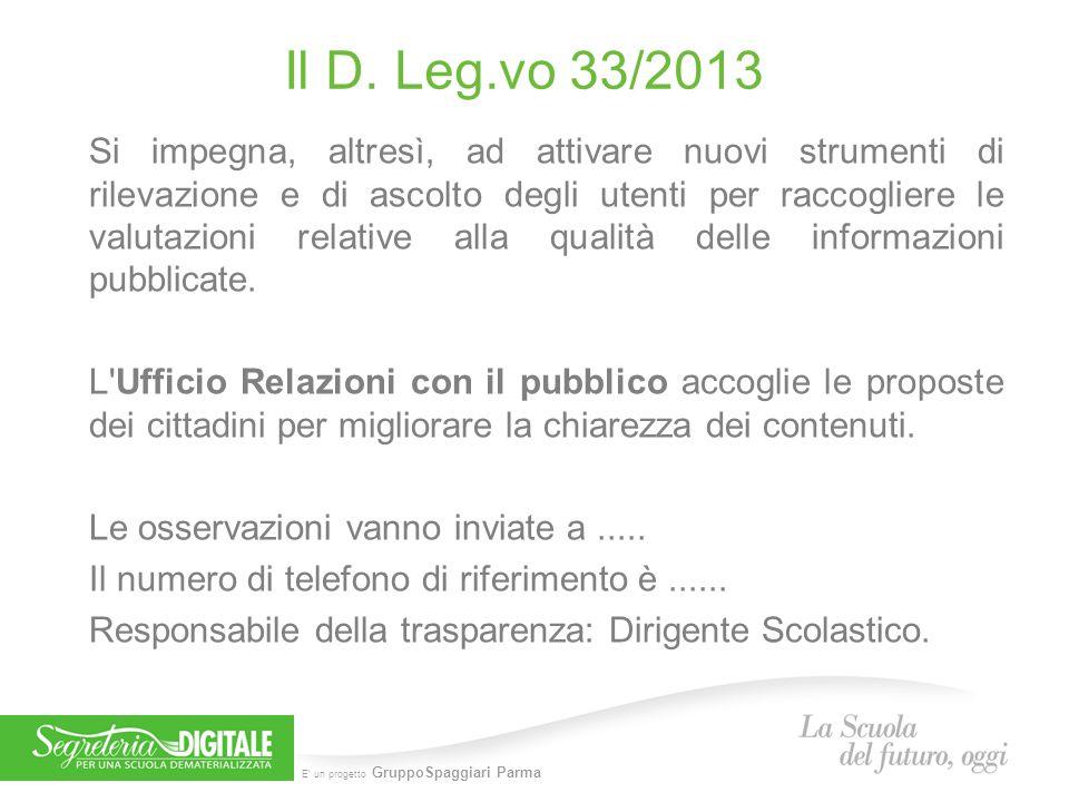 Il D. Leg.vo 33/2013