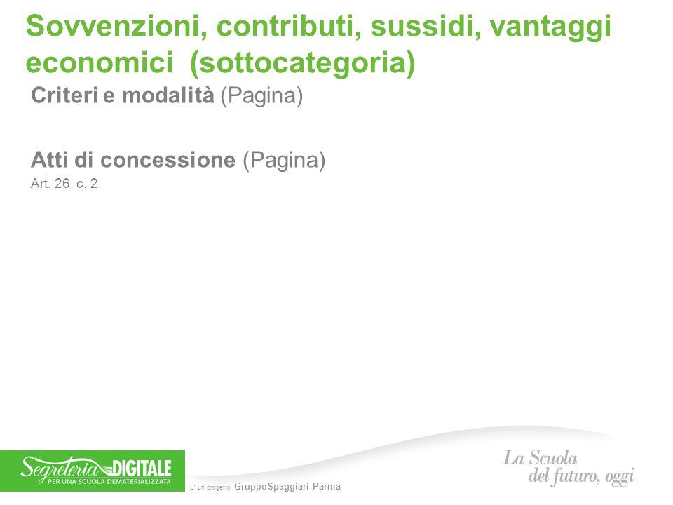 Sovvenzioni, contributi, sussidi, vantaggi economici (sottocategoria)