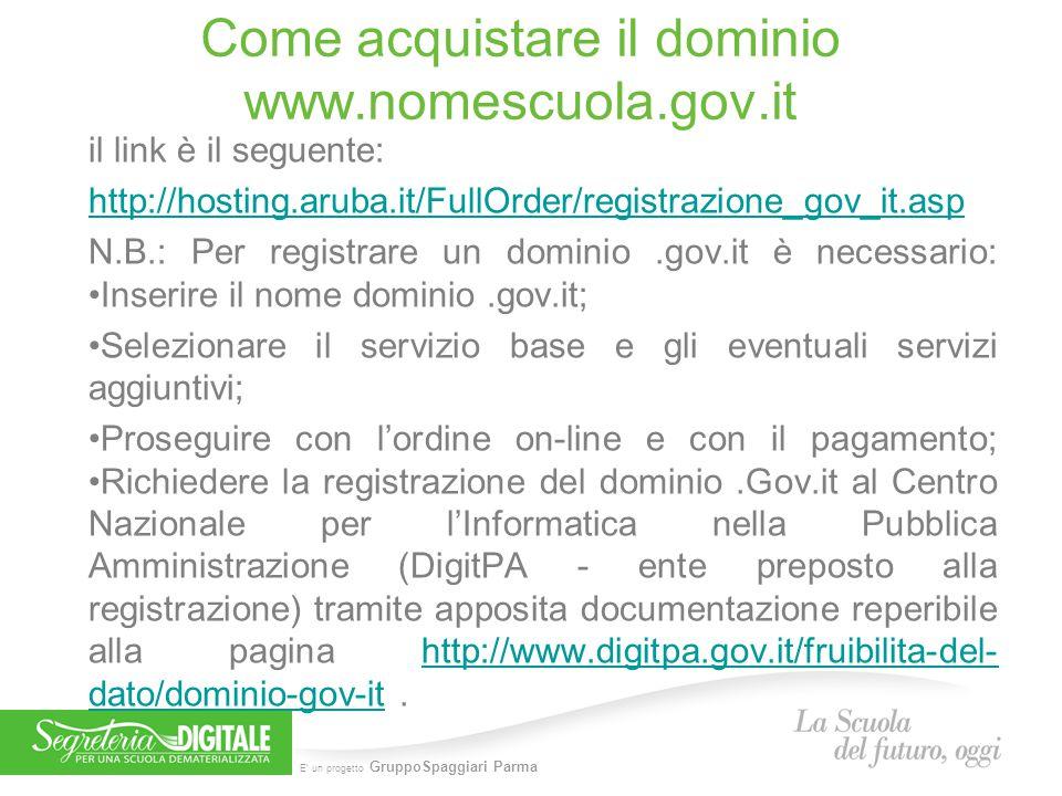 Come acquistare il dominio www.nomescuola.gov.it