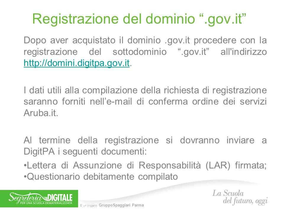 Registrazione del dominio .gov.it