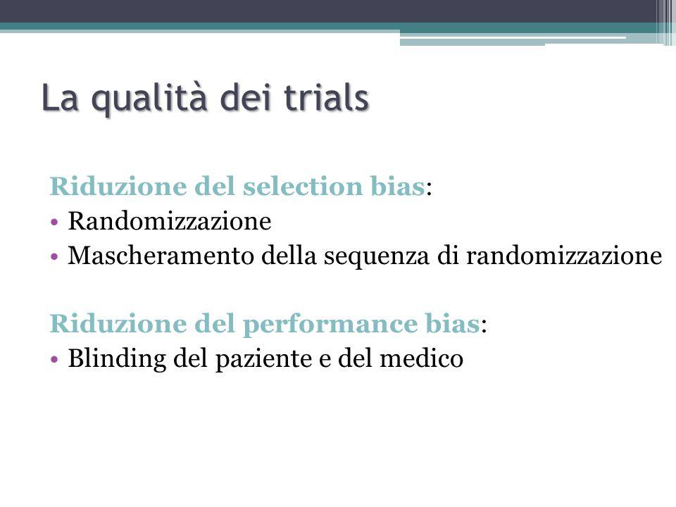 La qualità dei trials Riduzione del selection bias: Randomizzazione