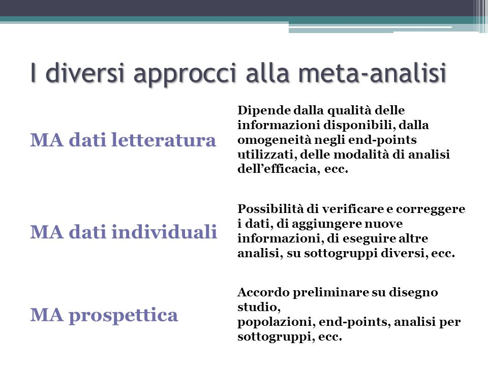 I diversi approcci alla meta-analisi