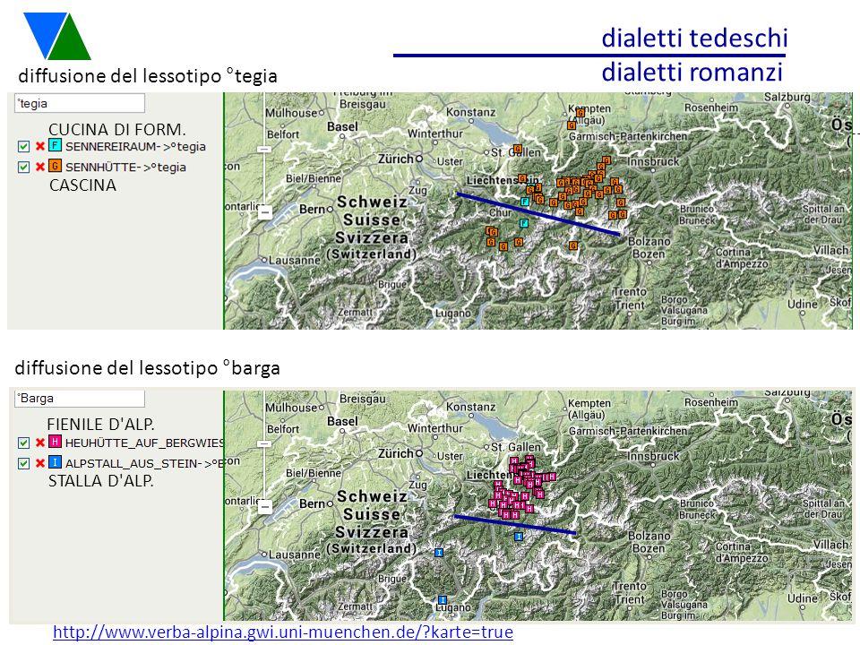 dialetti tedeschi dialetti romanzi diffusione del lessotipo °tegia