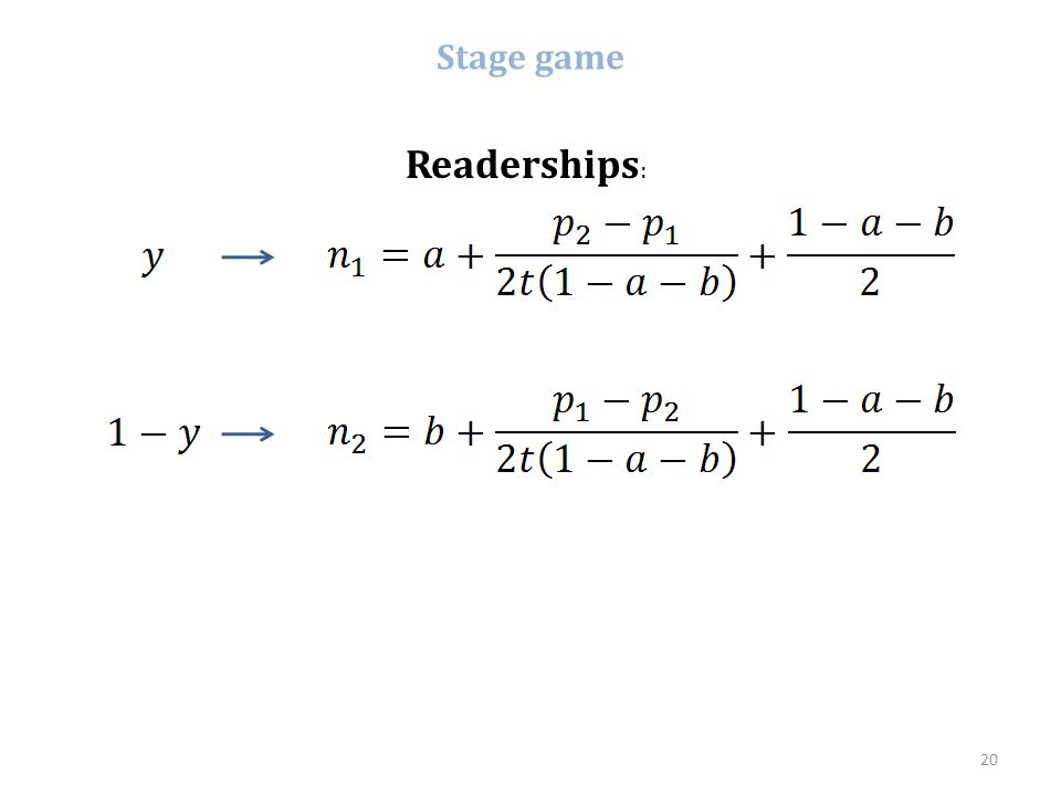 Stage game Readerships: