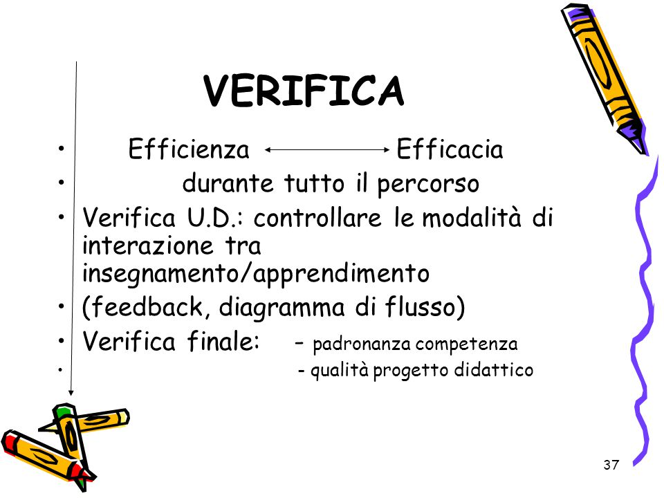 VERIFICA Efficienza Efficacia durante tutto il percorso