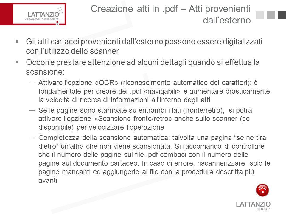 Creazione atti in .pdf – Atti provenienti dall'esterno