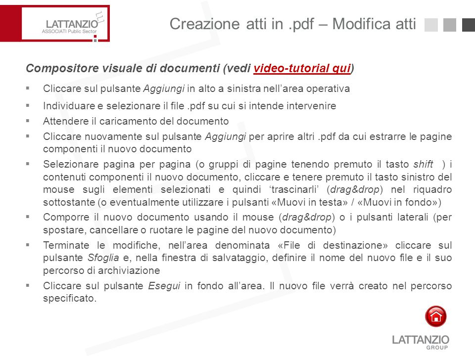 Creazione atti in .pdf – Modifica atti
