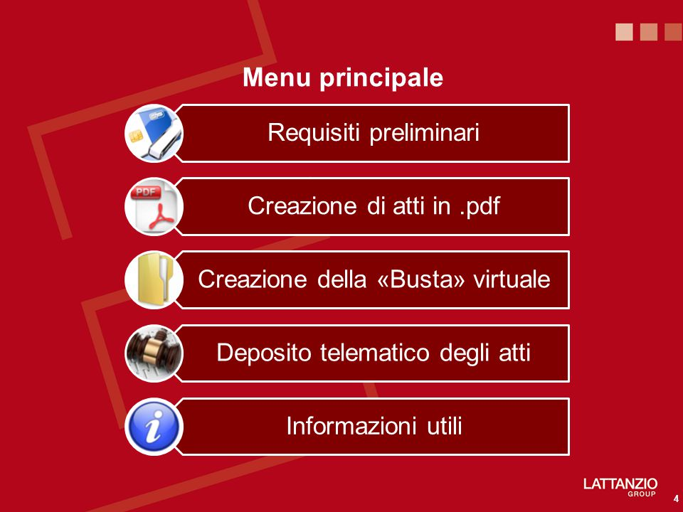 Menu principale Requisiti preliminari Creazione di atti in .pdf