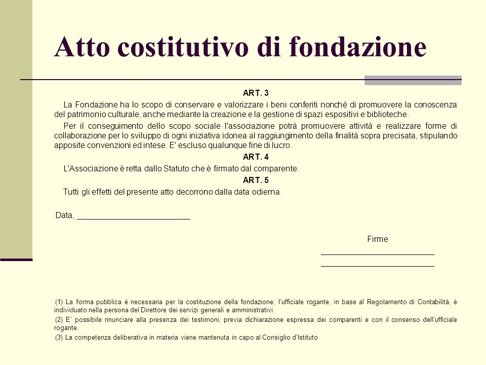 Atto costitutivo di fondazione