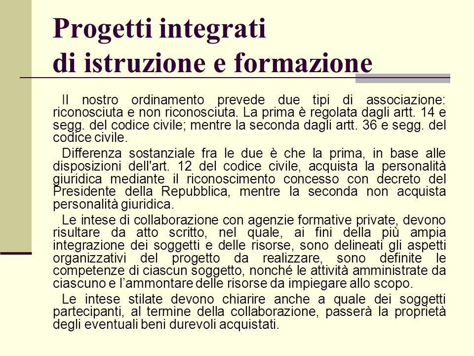 Progetti integrati di istruzione e formazione