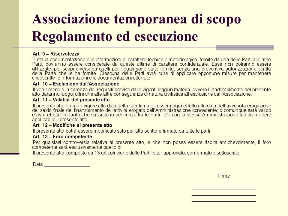 Associazione temporanea di scopo Regolamento ed esecuzione