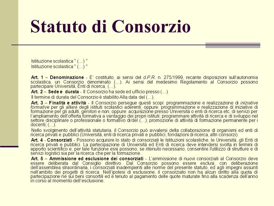 Statuto di Consorzio Istituzione scolastica (…)