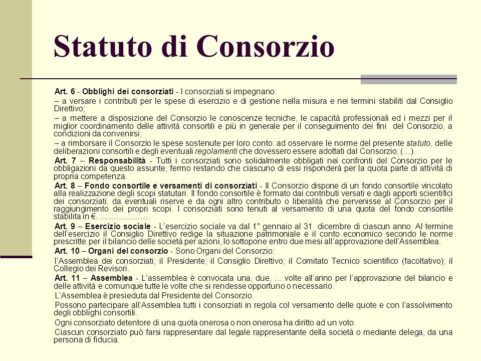 Statuto di Consorzio Art. 6 - Obblighi dei consorziati - I consorziati si impegnano: