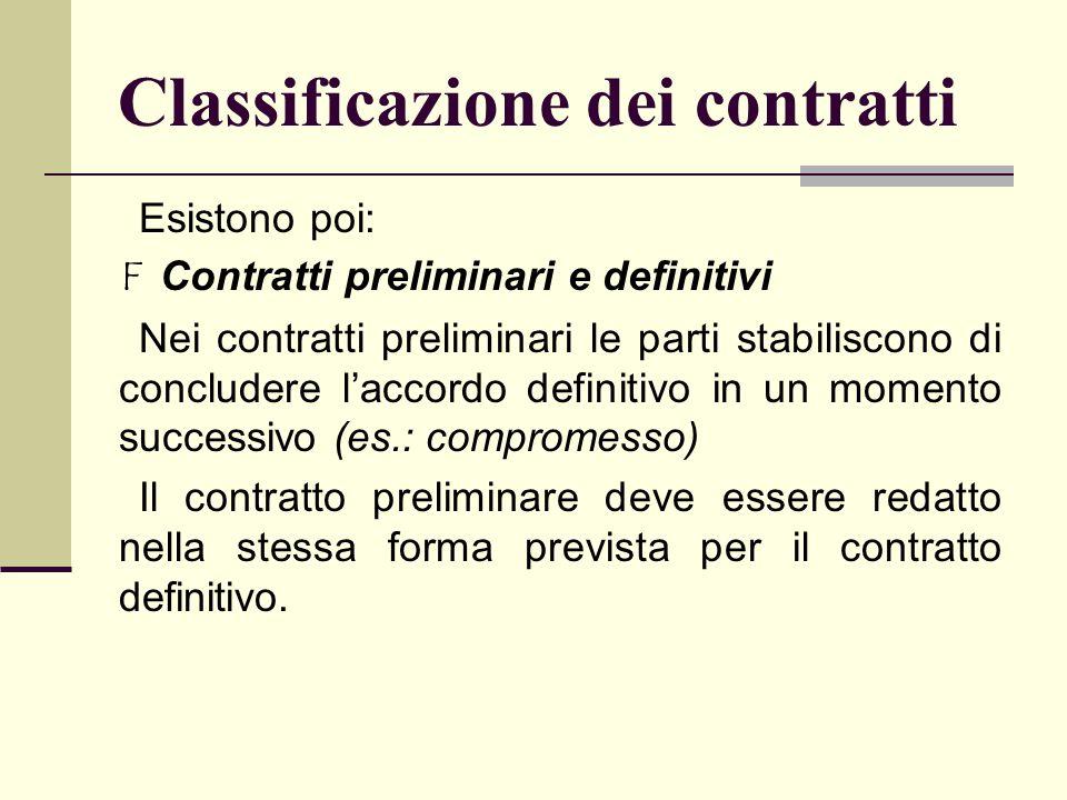 Classificazione dei contratti