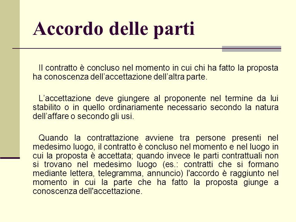 Accordo delle parti Il contratto è concluso nel momento in cui chi ha fatto la proposta ha conoscenza dell'accettazione dell'altra parte.
