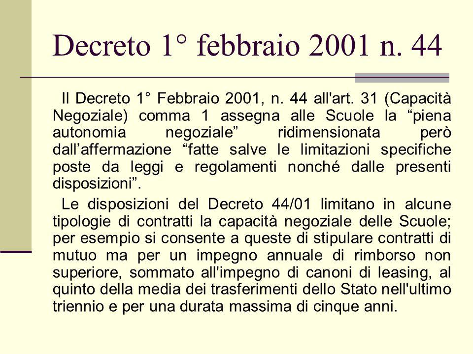 Decreto 1° febbraio 2001 n. 44