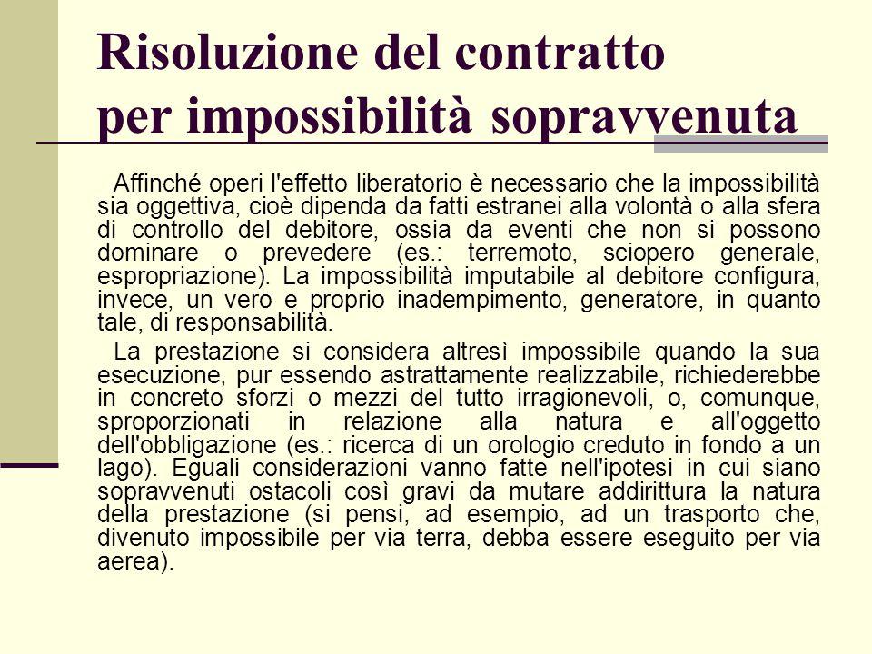 Risoluzione del contratto per impossibilità sopravvenuta