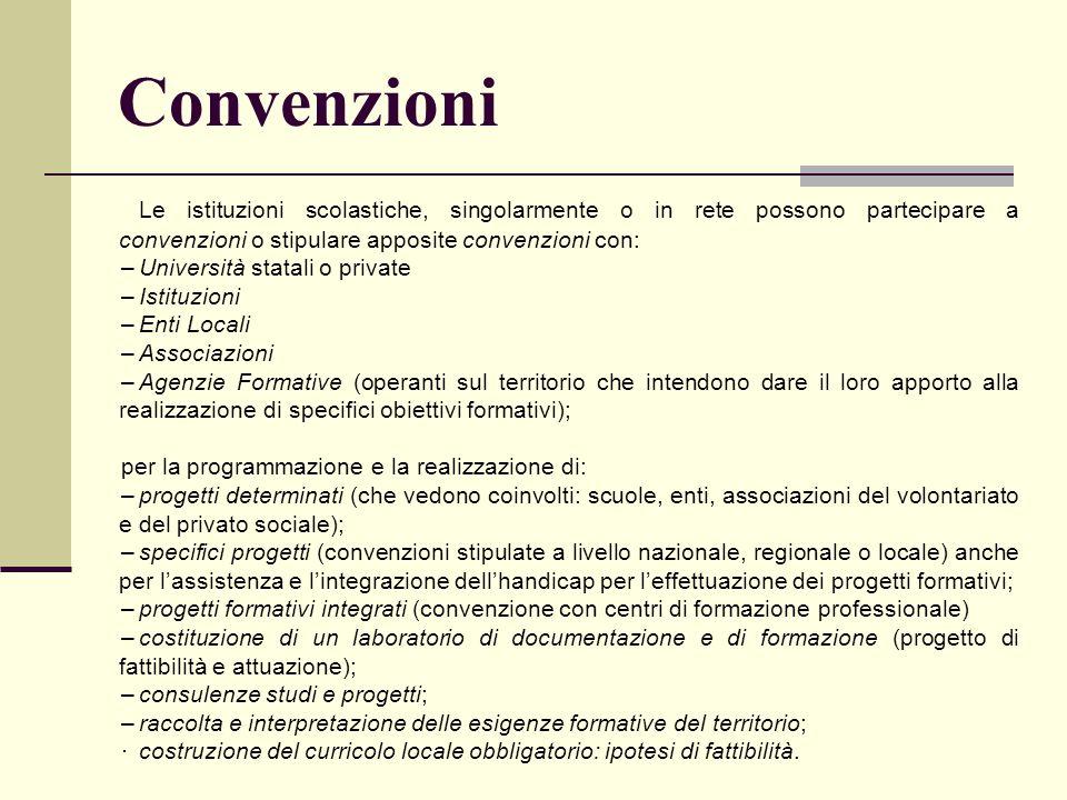 Convenzioni Le istituzioni scolastiche, singolarmente o in rete possono partecipare a convenzioni o stipulare apposite convenzioni con: