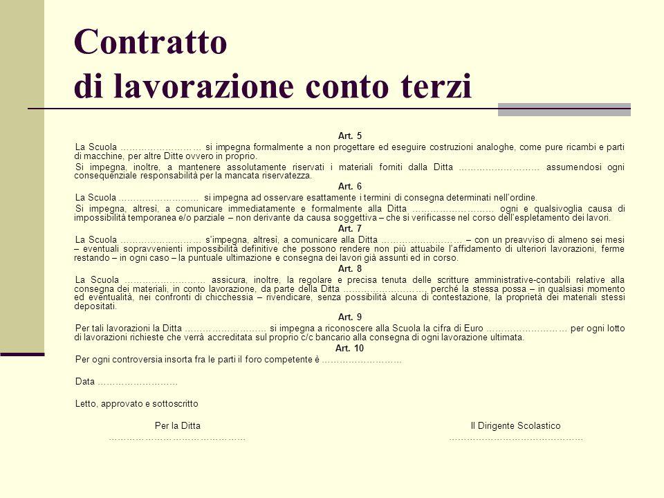 Contratto di lavorazione conto terzi
