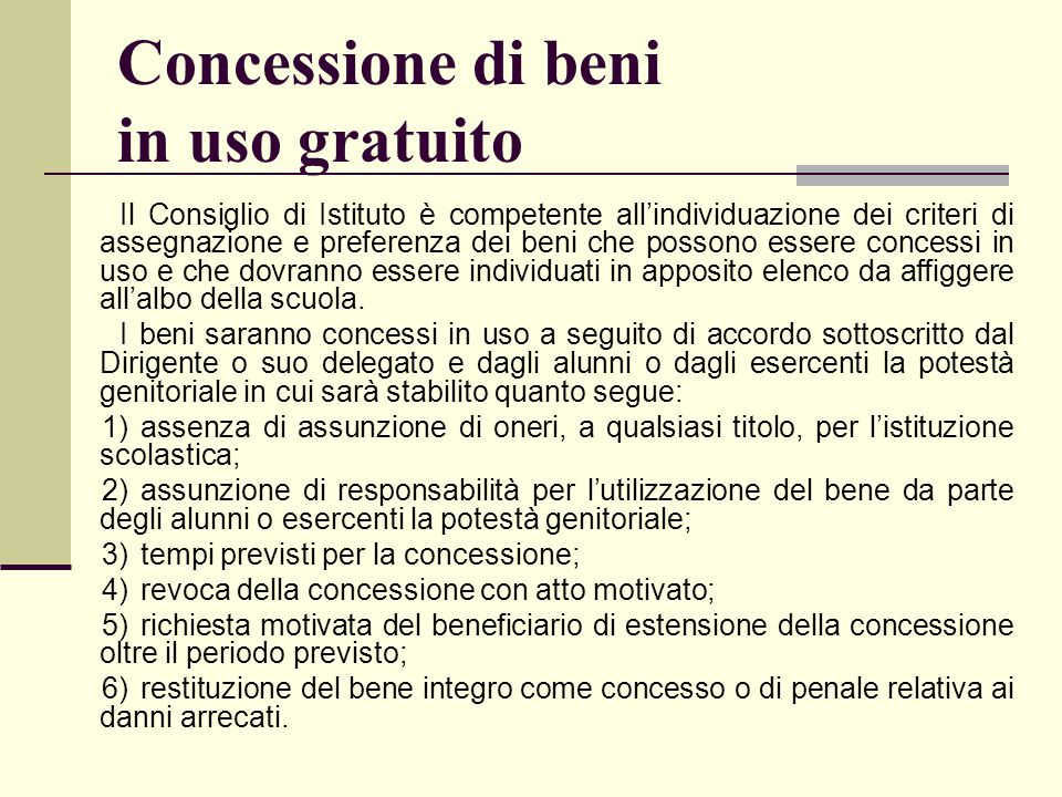 Concessione di beni in uso gratuito