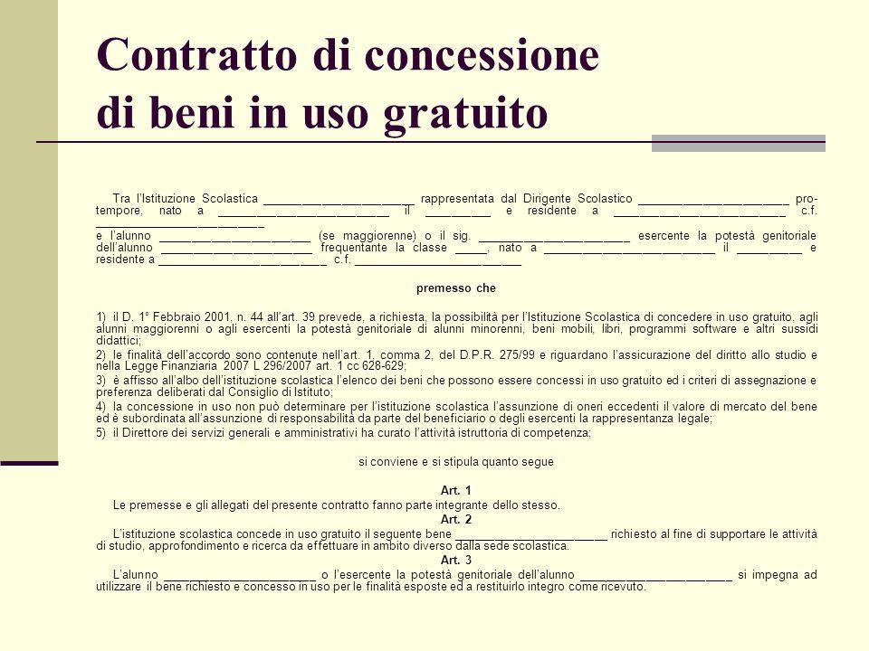 Contratto di concessione di beni in uso gratuito