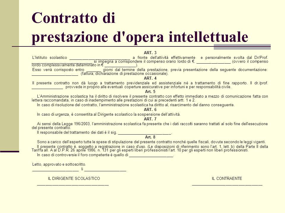 Contratto di prestazione d opera intellettuale