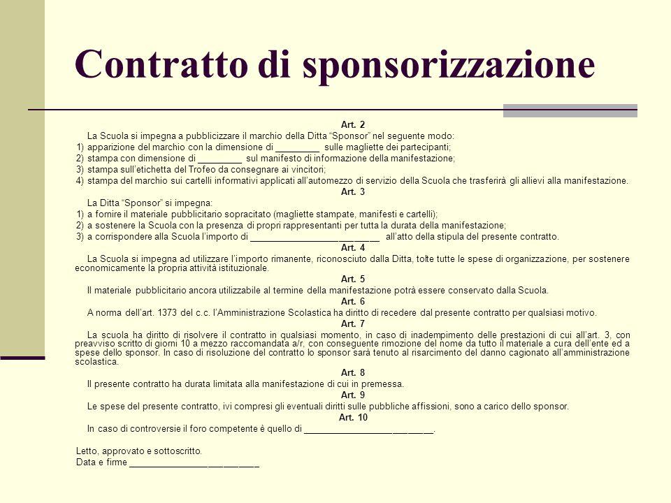 Contratto di sponsorizzazione