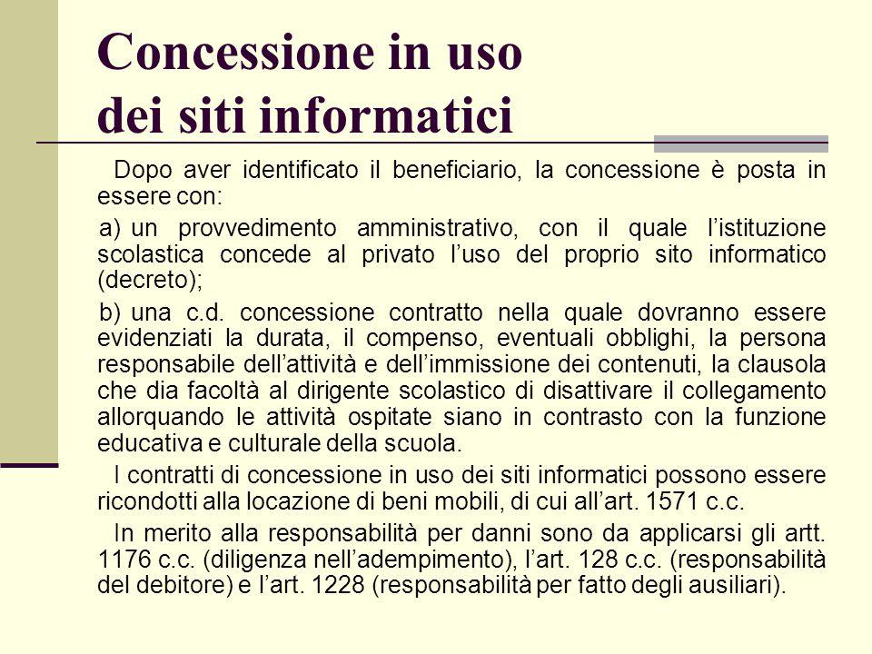 Concessione in uso dei siti informatici