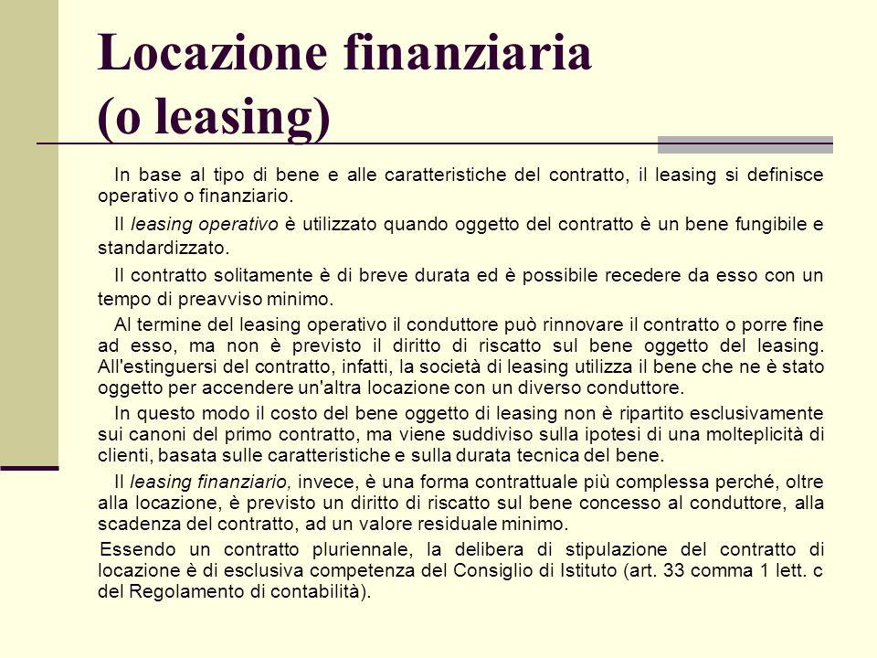 Locazione finanziaria (o leasing)