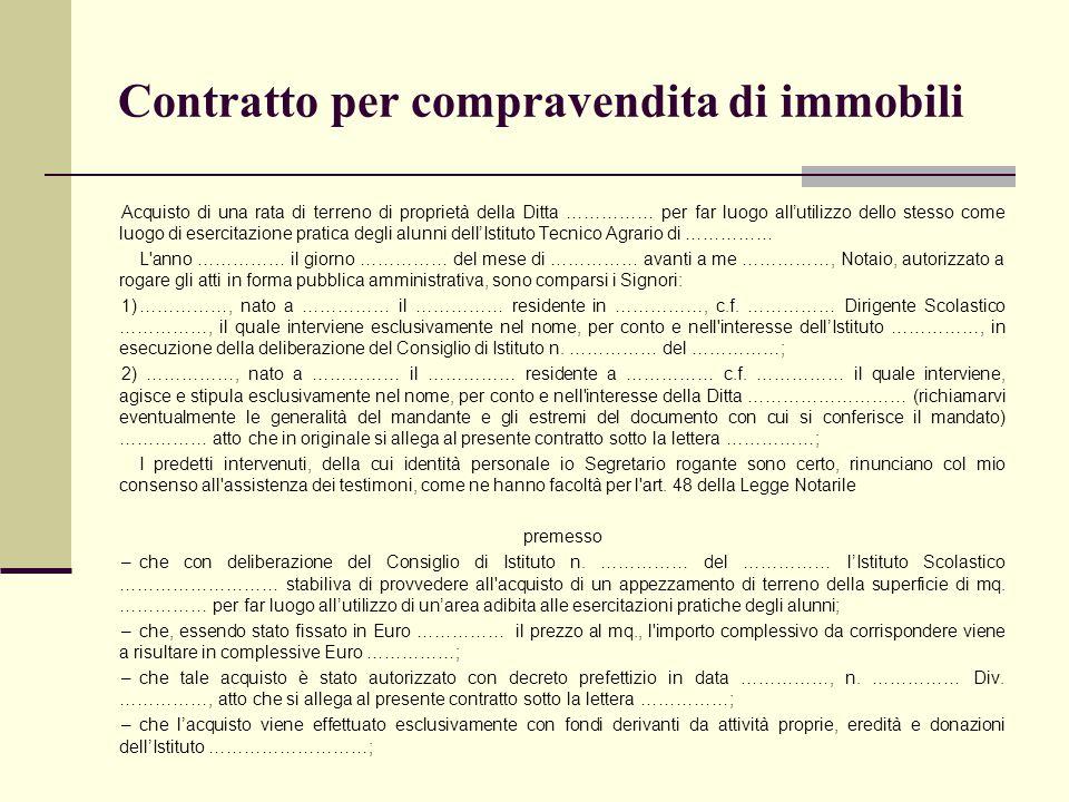 Contratto per compravendita di immobili