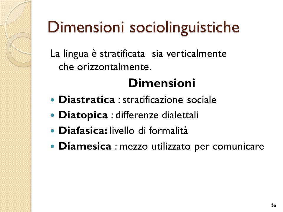 Dimensioni sociolinguistiche